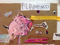 Taller de  Galeano. Realizado por Berta tutora de cocos. Materiales cartón telas, hilos, materiales reciclados... Etc
