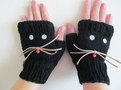 Black Kitty Mittens Hand knitted Black Gloves Winter by NastiaDi