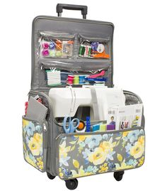 Everything Mary 4 wheel Rolling Sewing Case Floral Sewing Hacks, Sewing Tutorials, Sewing Kits, Sewing Machine Tension, Sewing Machines, Sewing Case, Sewing Baskets, Sewing Accessories, Sewing Projects For Beginners