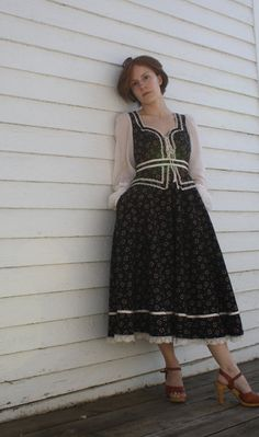 Vintage 70s Gunne Sax Dress Black Floral Print Boho by soulrust, $79.99
