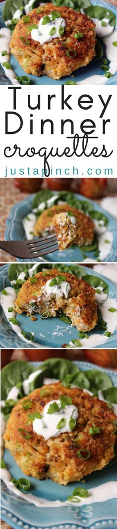 These croquettes are a great way to use your leftover turkey and stuffing. The Cheese-Its crumbs add a bit more flavor than traditional bread crumbs. And I loved using the French fried onions as the coating. Just adds to the overall flavors. What's great is you can really use whatever you have left over - corn, green bean casserole, etc - to add to the stuffing and turkey mixture. You can serve with a dressing but, honestly, this turkey croquette was yummy all by itself.