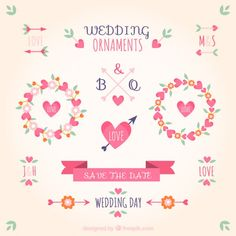 ornamentos de casamento na cor-de-rosa Vetor grátis