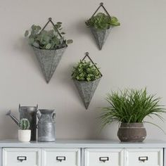Galvanized Wall Planter Decor stratton home decor piece triangular galvanized metal Source: website galvanize planters hanging wall plan. Wall Mounted Planters Indoor, Galvanized Wall Planter, Ceramic Wall Planters, Decorative Planters, Metal Planters, Galvanized Metal, Hanging Plants, Garden Planters, Concrete Planters