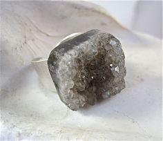 Smokey Quartz Grey Druzy Silver Mineral Ring by by Pauletta #etsy #etsynyteam