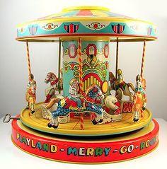Vintage J Chein Tin Wind Up Merry Go Round Carousel Toy Works w Box J Metal Toys, Tin Toys, Vintage Tins, Retro Vintage, Merry Go Round Carousel, Toys In The Attic, Doll Toys, Dolls, Children's Toys