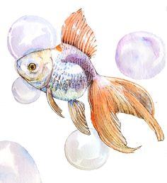 Original Goldfish Watercolor Painting -6 x 7. $10.00, via Etsy.