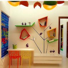 Amazing Lighting and Colorful Study Table Furniture Sets in Modern Kids Bedroom Decorating Designs Ideas Amazing and Modern Bedroom Decorating Ideas for your Little Kids Study Table Designs, Study Room Design, Kids Room Design, Wall Design, Design Bedroom, Playroom Design, House Design, Cool Shelves, Unique Shelves