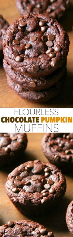 Flourless Chocolate Pumpkin Muffins -- gluten-free, grain-free, oil-free, dairy-free, refined sugar-free, but so soft and delicious that you'd never be able to tell! || runningwithspoons.com #pumpkin #chocolate #fall