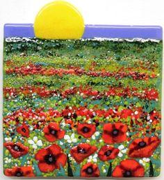 """Sunrise Poppy Field"" fused glass piece"