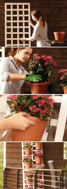MATERIALS 24″ X 72″ trellis Eight 8″ resin terra cotta pots 16 S-hooks 32-qt. bag of potting soil Plants of your choice