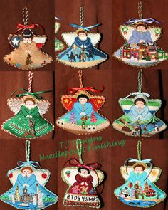 Painted Pony needlepoint angel ornaments