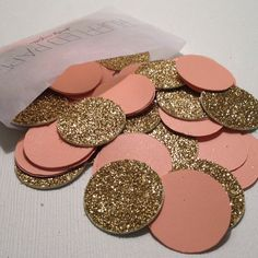 Party Confetti Gold Glitter and Coral by RuffledPaper on Etsy, $5.50
