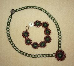 Circular Peyote Necklace and Bracelet by janglesaz on Etsy, $45.00