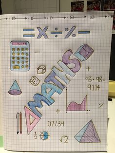 Maths title page ✏️ Bullet Journal Writing, Bullet Journal Ideas Pages, Bullet Journal Inspiration, Sbar Nursing, Project Cover Page, Folding Socks, School Binder Covers, Math Textbook, I Hate School