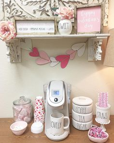 If you are a coffee lover, the best DIY Coffee Bar Ideas are here to inspire you coffee altar, your coffee worshiping game changes now! Coffee Bars In Kitchen, Coffee Bar Home, Home Coffee Stations, Coffee Corner, Office Coffee Station, Valentine Cupid, Hot Cocoa Bar, Valentine's Day, Valentines Day Decorations