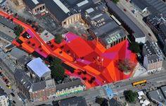superkilen, a new red-painted neighborhood in copenhagen