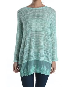 Look at this Chris & Carol Mint Lace-Trim Dolman Top on #zulily today!