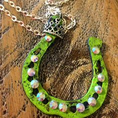 Horseshoe Necklace - Rustic Metal Horseshoe Necklace - Custom Painted Horseshoe Necklace - Distressed Horseshoe Necklace