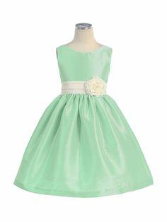 Sweet Kids Girls Simply Elegant V-Back Poly Dupioni Flower Girl Easter Dress Green Flower Girl Dresses, Girls Easter Dresses, Baby Girl Dresses, Little Dresses, Baby Dress, Flower Girls, Dress P, Dress Backs, Dress Outfits