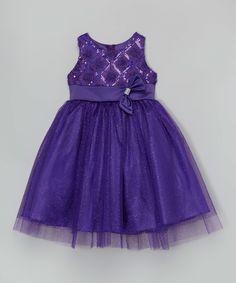 Look at this #zulilyfind! Purple Sequin Dress - Girls by Shanil #zulilyfinds