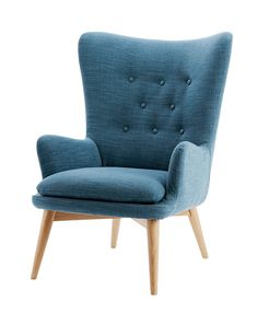 Wingback chair Linen Niels wingback chair in Regal Blue, West Elm, $979. Wingback chair - Get the look: Retro retreat