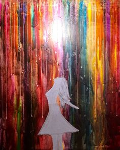 Pretty rainbow colors and musical notes flowing down with woman lifting her face to heaven in praise. Freedom Fellowship Prophetic Art