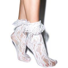 Leg Avenue Lolita Lace Ruffle Ankle Socks (6 PAB) ❤ liked on Polyvore featuring intimates, hosiery, socks, accessories, legwear, shoes, tights/socks, short socks, lace ankle socks and frilly socks