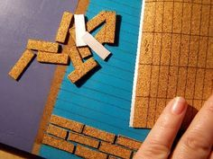 Miniature bricks (realistic looking) from painted cork mats | Source: Pequeneces