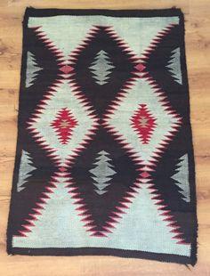 """Circa1910′s Vintage Navaho Weaving 35 1/2 """"x 54 1/2″ Antique Navajo Rug Textile"""