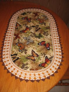 """Aunt Roo's Butterflies fabric table runner w/ crocheted edging (18"""" W X 30-1/2"""" L)"""