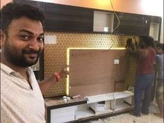 """Hello Friends & Family Here is Ashish Kumar Creator of """" Interior Jagat """" This is our another one video about charcoal pasting in Tv 📺 unit . Tv Unit Interior Design, Tv Unit Furniture Design, Diy Furniture, Tv Cabinet Design, Tv Wall Design, Wooden Panel Design, Wall Panel Design, Ceiling Design, Wall Unit Designs"""