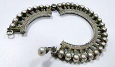 vintage antique ethnic tribal old silver bangle by Amrapali, $299.00