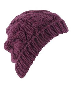 Purple Cable Knit Beanie $5.50
