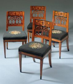 A SET OF FOUR NORTHERN EUROPEAN INLAID SIDE CHAIRS MID-19TH
