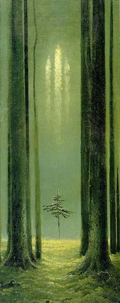"""""""One tree died, a dozen more raced to take its place, each sapling fighting for its patch of sky.""""--The Creaking Tree (Marquette)"""