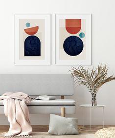 Mid Century Modern Art Set, Retro Posters, Set of 2 Art Prints, Geometric Artwork, Diptych Art, Navy Orange Beige Art, Bedroom Wall Art Modern Prints, Mid-century Modern, Art Prints, Geometric Artwork, Beige Art, Retro Posters, Mid Century Modern Art, Bedroom Wall, Wall Art