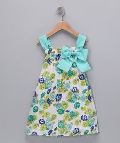 Take a look at this Aqua Mums the Word Dress - Toddler & Girls by Peace of Cake on #zulily today!
