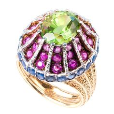 1960's BUCCELLATI Multi Colored Byzantine Domed Ring  Italian, 3.23ct peridot surrounded by round faceted rubies and sapphires
