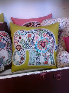 12-inch Elephant Pillow - Chartreuse Green (Cover Only). $15.00, via Etsy.