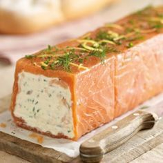 Salmon Terrine : serves 8 / •500g fresh salmon •500g sliced smoked salmon •200g butter •300g cream cheese •450g natural yoghurt •4 tbsp chives, chopped •Juice of 2 lemons •Salt and ground black pepper Fish Recipes, Seafood Recipes, Appetizer Recipes, Cooking Recipes, Healthy Recipes, Loaf Recipes, Fish Dishes, Seafood Dishes, Salmon Terrine Recipes