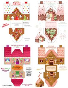 free printable paper gingerbread houses to make - Miniature Christmas Z Christmas Gingerbread, Christmas Fun, Christmas Ornaments, Gingerbread Houses, Xmas, Putz Houses, Christmas Boxes, Vintage Christmas, Christmas Decorations