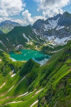 Lake Schrecksee, lying snugly in the Bavarian Alps.