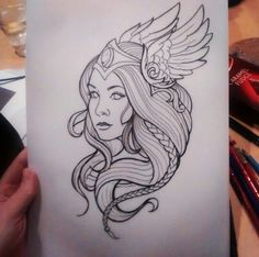 Someday Tattoo Design Drawings, Love Drawings, Art Drawings Sketches, Tattoo Designs, Norse Tattoo, Viking Tattoos, Viking Drawings, Valkyrie Tattoo, Vikings