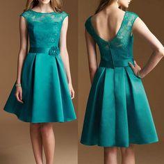 Teal Bridesmaid Dress, Lace Bridesmaid Dresses, Short Bridesmaid Dress, Round Neck Bridesmaid Dress, on Luulla