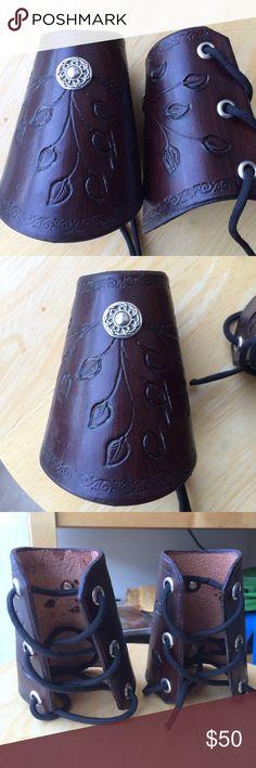 Leather Wrist Bracers laes Arm Armor sca larp or biker cuff punk Ren cowboy