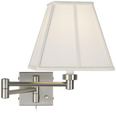 $99 Ivory Shade Brushed Steel Plug-In Swing Arm Wall Lamp -