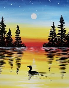 Join us for a Paint Nite event Wed Jul 2018 at 2032 CR 220 Fleming Island, FL. Purchase your tickets online to reserve a fun night out! Lake Painting, Oil Painting Abstract, Cool Paintings, Landscape Paintings, Silhouette Painting, Sunset Silhouette, Beautiful Nature Pictures, Diy Y Manualidades, Beautiful Fantasy Art