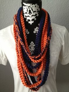 Denver Broncos Navy and Orange Knit Scarf on Etsy, $30.00