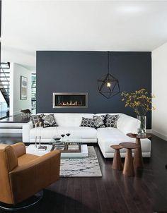 murs de couleur gris anthracite, comment bien amenager le salon Living Room Grey, Living Room Modern, Living Room Interior, Rugs In Living Room, Living Room Designs, Living Room Decor, Small Living, Cozy Living, Room Rugs