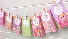 Russian Doll Advent Calendar. Handmade Gift bag garland by MyPaperPlanet.